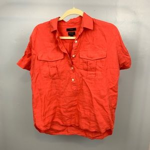 J. Crew | Orange Irish Linen Shirt Sleeve Top sz 0